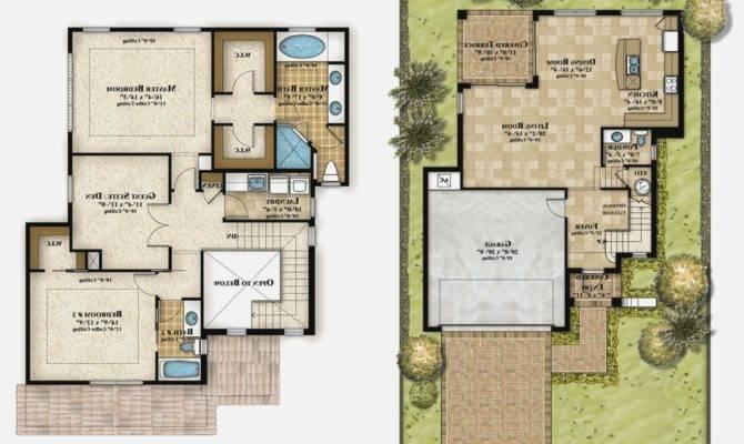 Two Storey Modern House Plans Homes Floor