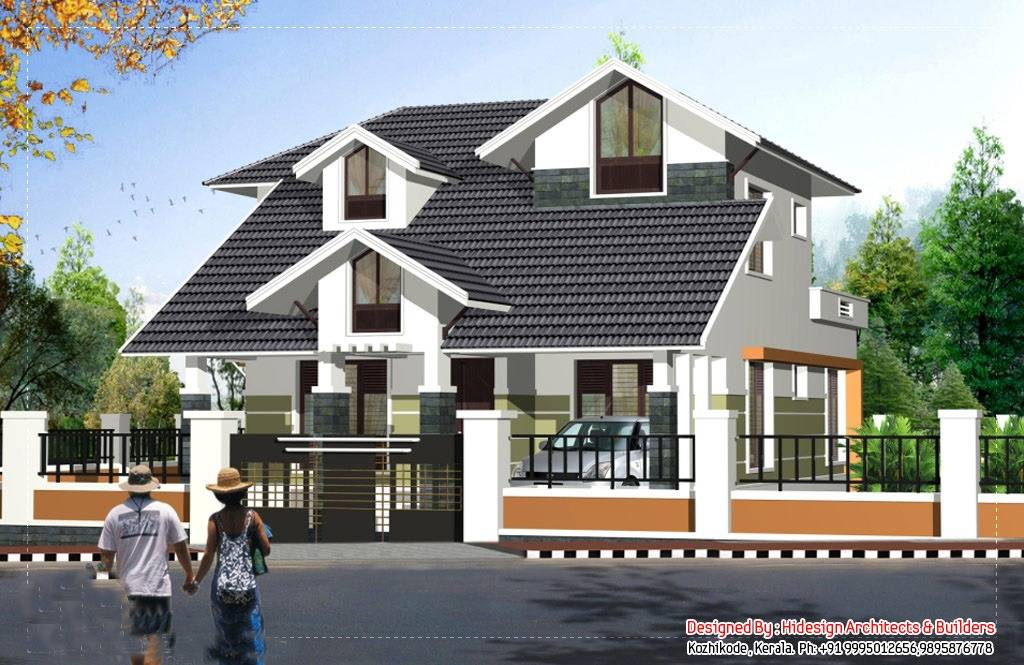 Two Storey Sloping Roof House Plan