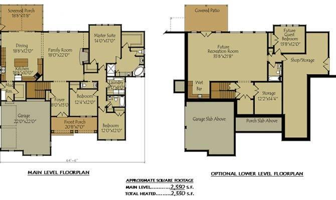 Two Story Cottage Lake House Plan Garage Optional Basement