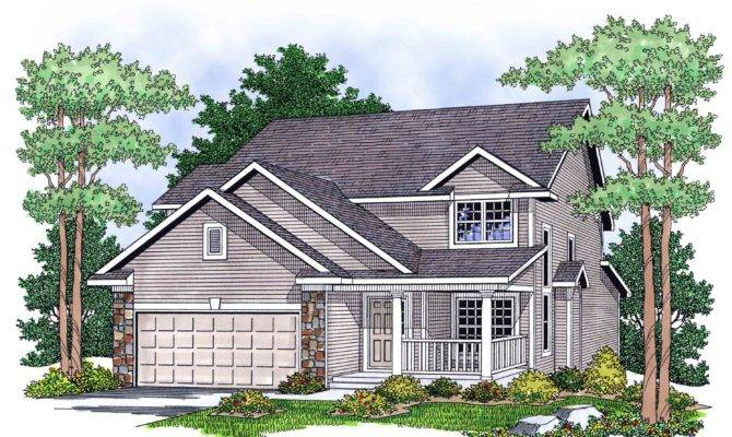 Two Story Country Home Plan Architectural