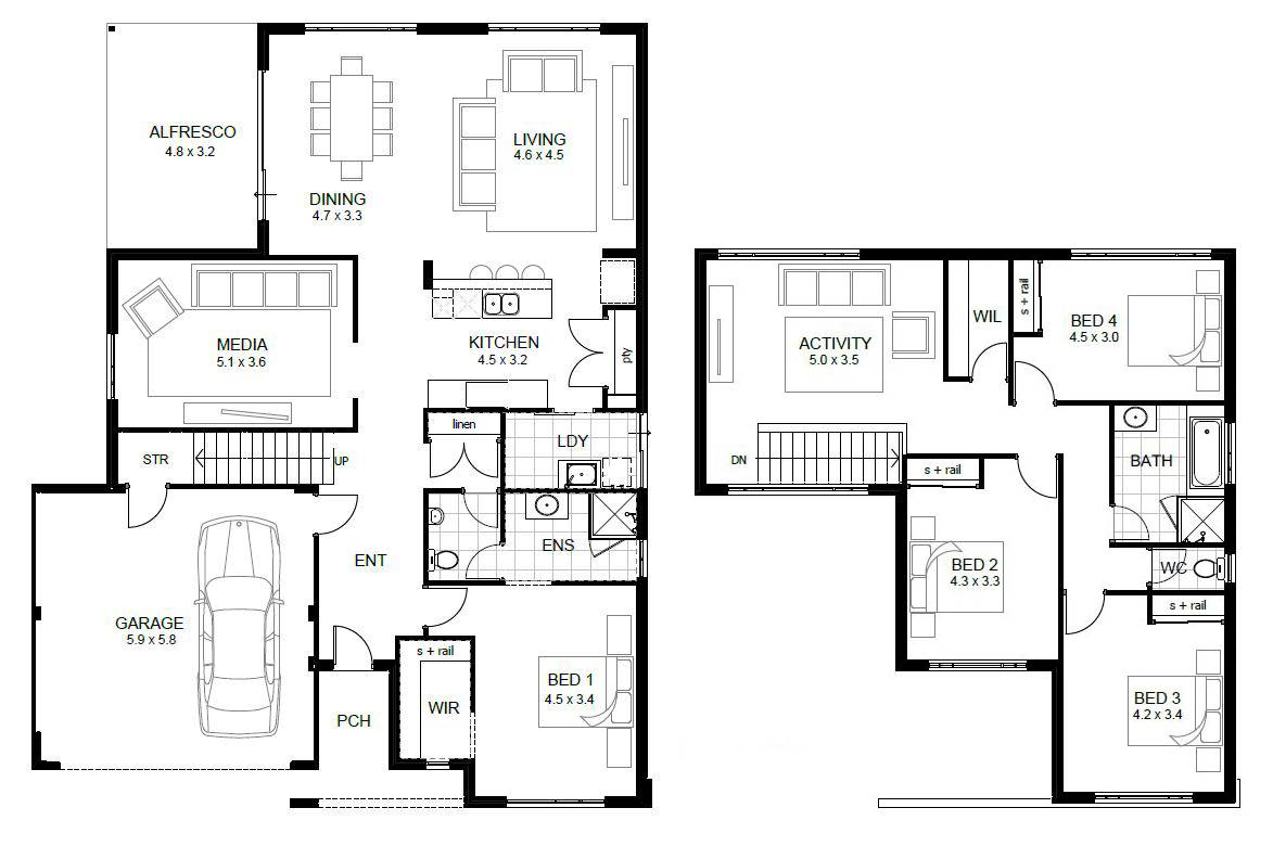 Two Story House Floor Plans Addition Custom Home