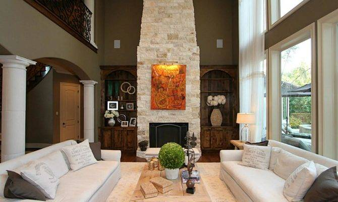 Two Story Living Room Fireplace