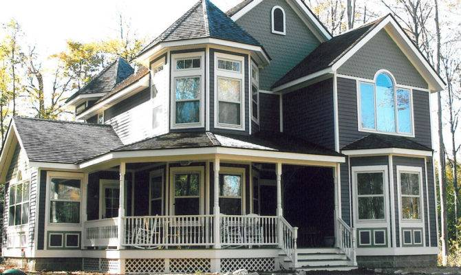 Two Story Victorian Home Covered Porch Turret Roof House