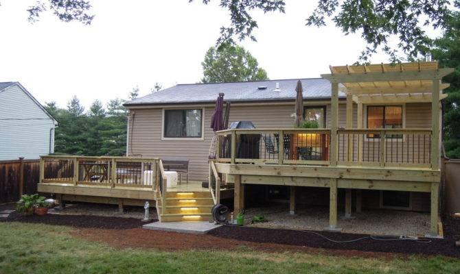 Two Tiered Treated Lumber Deck Batavia Area Thomas Decks Llc