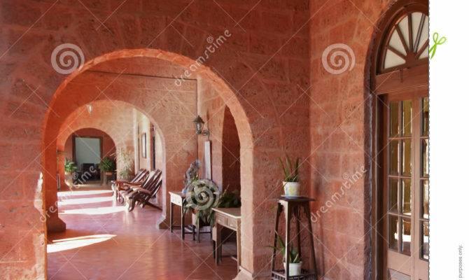 Under Red Brick Arches Art Deco Patio