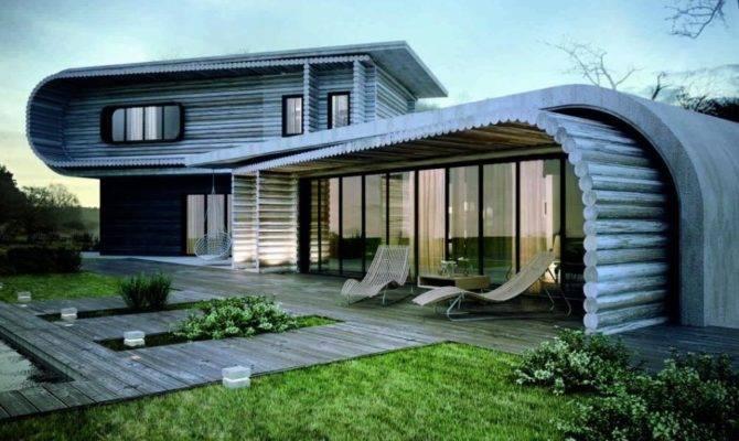 Unique House Architecture Design Wooden Material