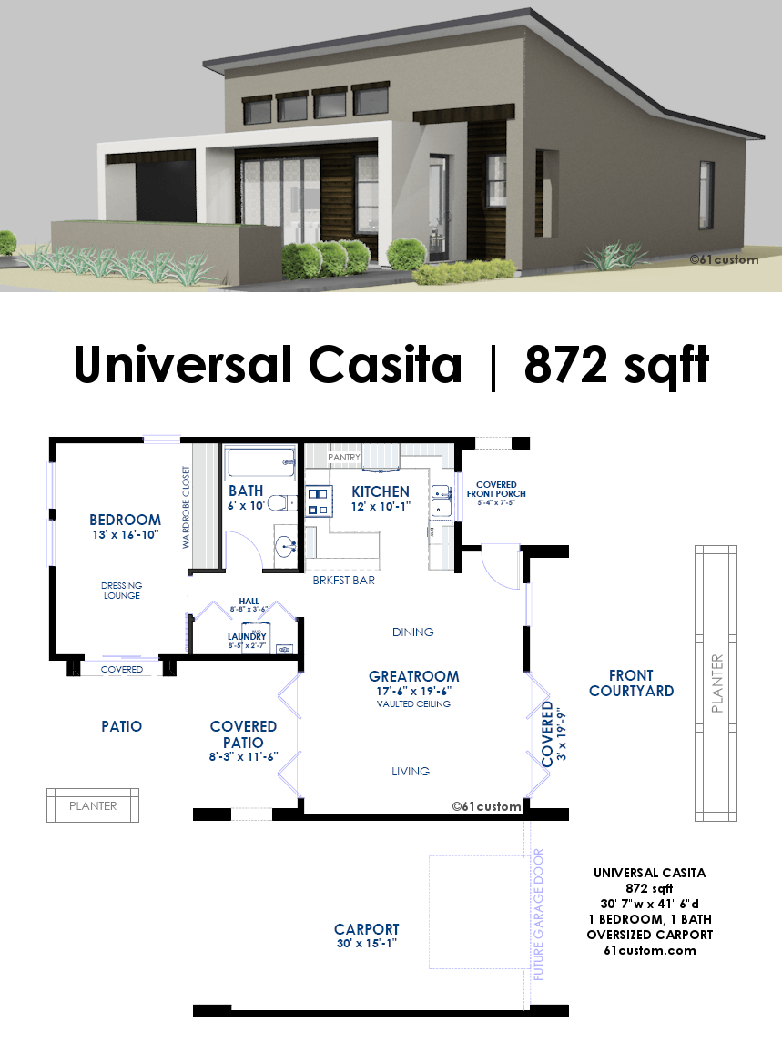 Universal Casita House Plan Custom Contemporary