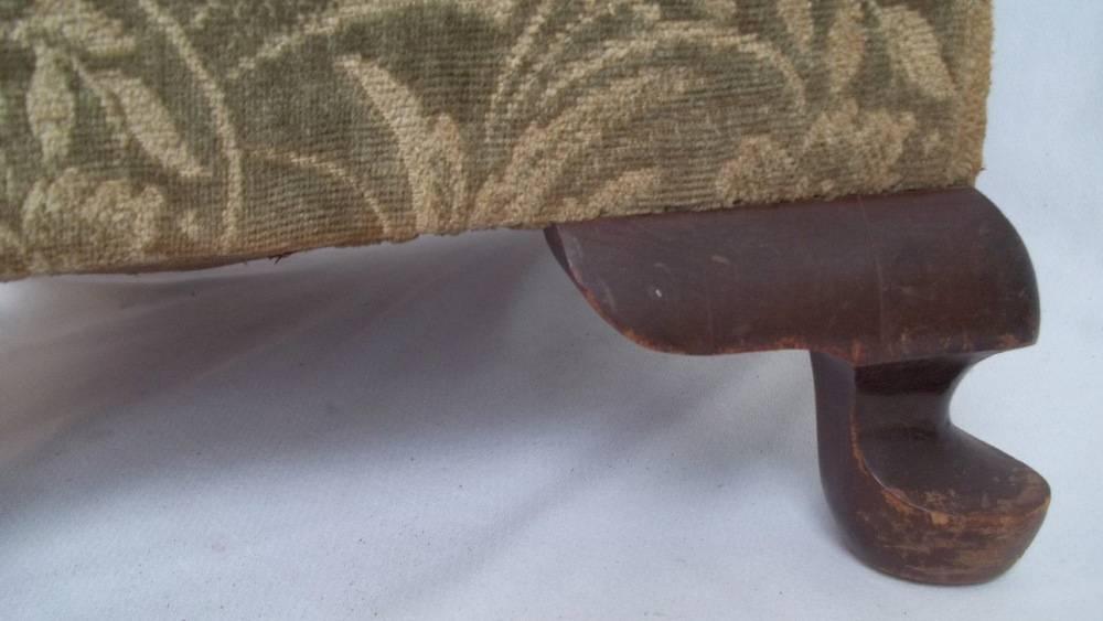 Upholstered Foot Stool Queen Anne Legs Green Spot Antiques