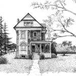 Victorian Farmhouse Pen Ink Drawing Renee Forth