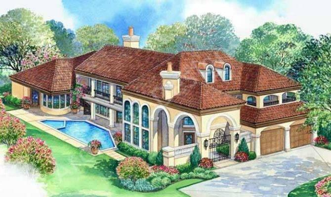 Villa Zeno House Plan Tuscan Front Rendering