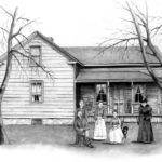 Vintage Farm House Drawing Joyce Geleynse