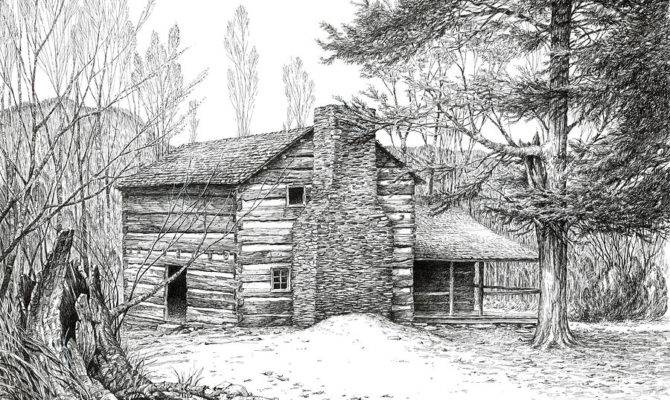 Walker Sisters Farm House Drawing Bob George