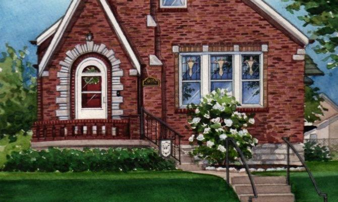Watercolor Custom House Portrait Brick Tudor