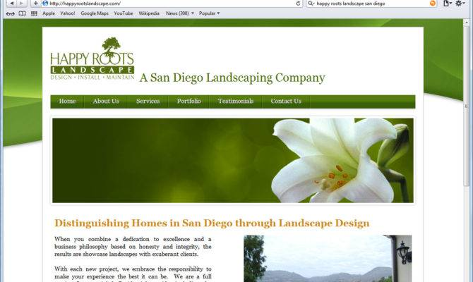 Website Design Happy Roots Landscaping Homepage