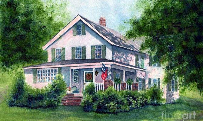 White Country Farmhouse Painting Janine Riley
