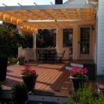White Fabric Over Low Maintenance Trex Deck Round Columns
