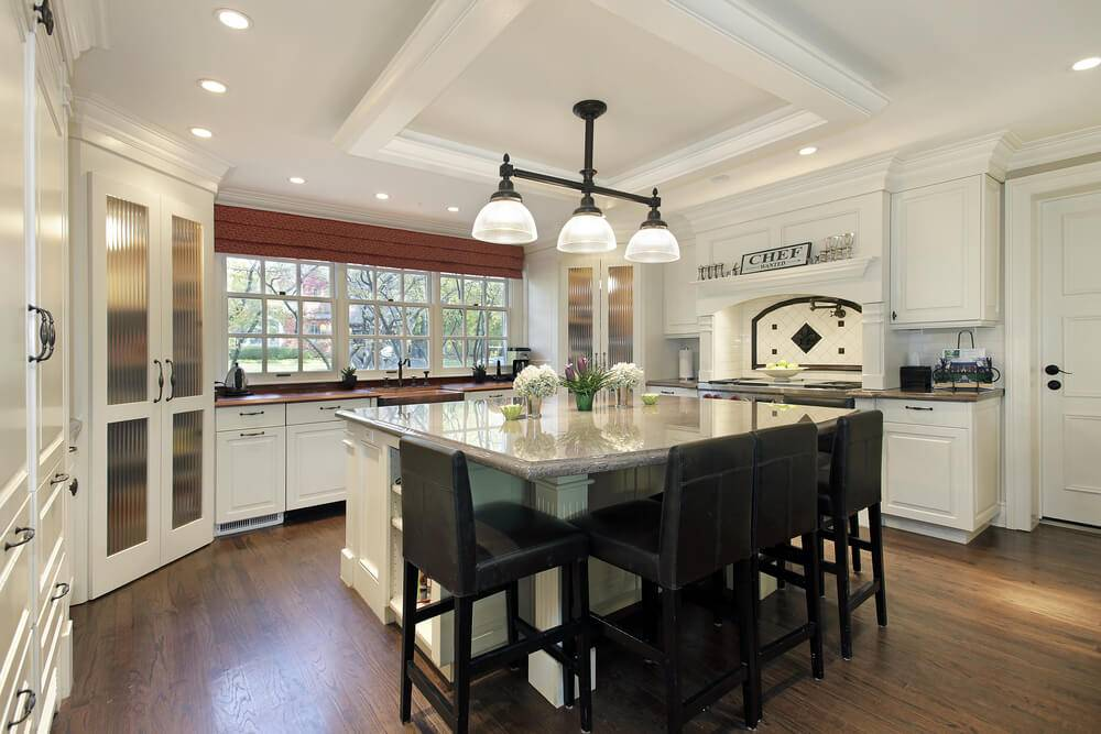 White Kitchen Large Square Island Dark Stools