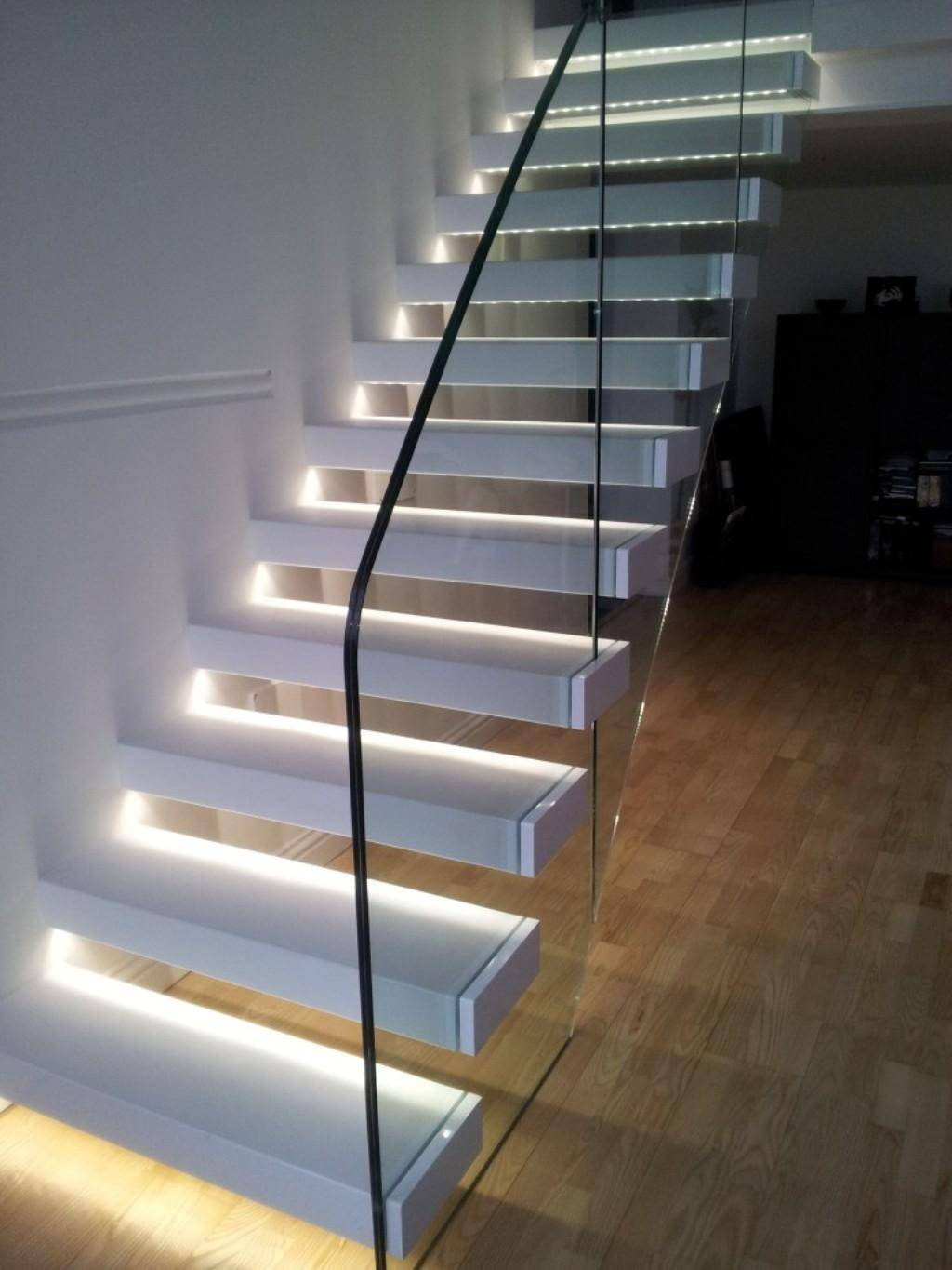 Winsome Upstairs Led Lights Decors White Glass Top