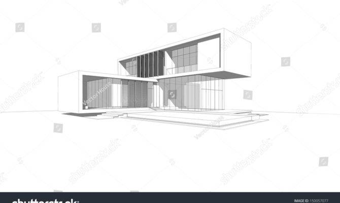 Wireframe Drawing Modern House Illustration