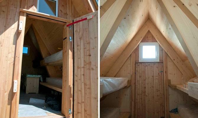 Wooden Frame Cabin Crowns Alpine Mountaintop